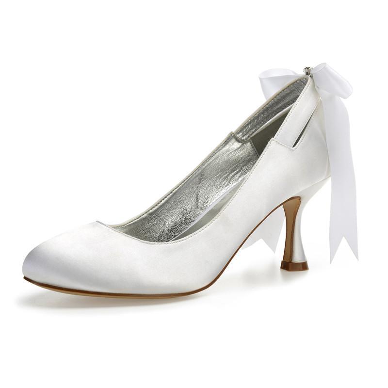 Dress shoes tacchi alti tacchi satin women wedding top toe slip on tacco da sera da sera da sposa con pompe da sposa