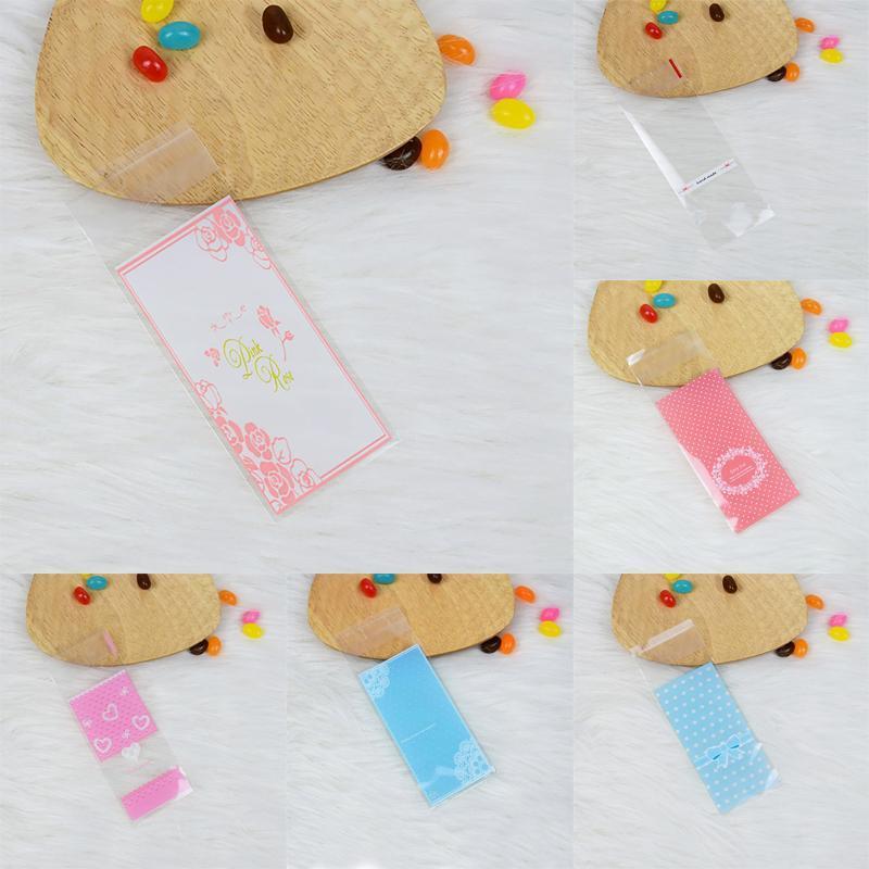100 pz / lotto Mini Plastic Candy Packaging 5 * 13 cm B cupcake Sacchetti involucro OPP Autoadesivo Borsa Cookie Rossetto Gioielli Confezione