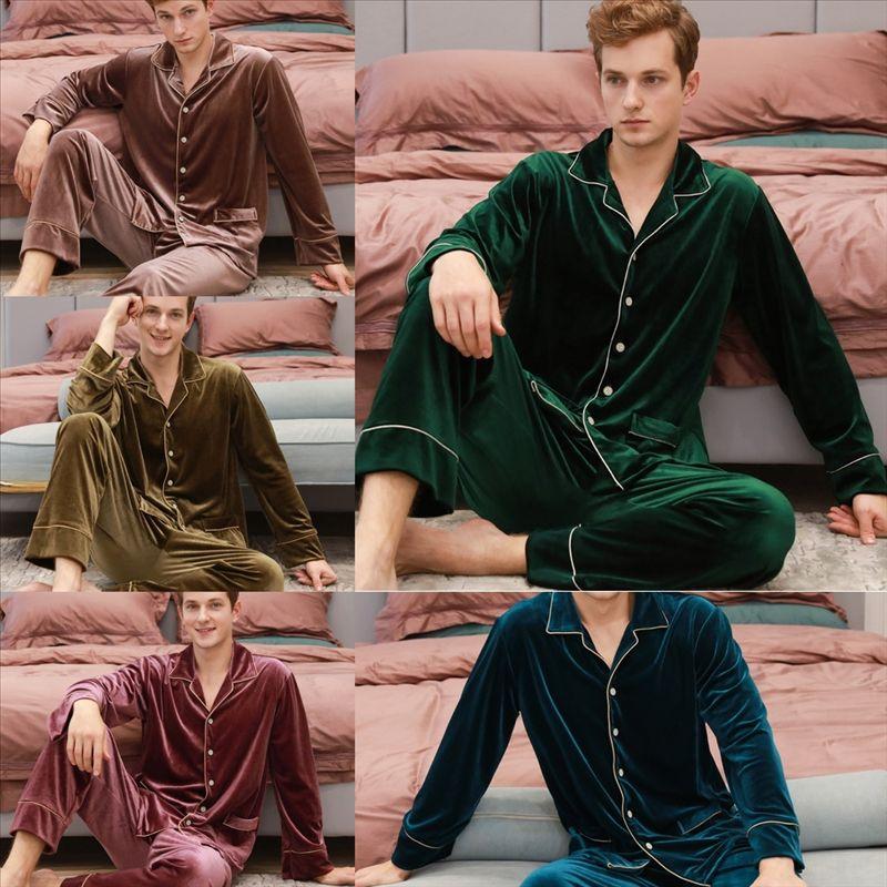 BHO4 PAJAMAS HOMBRES TOPS PAJAMA HOMBRES LARGOS PAJAMAS Hombre de seda de invierno Hombre de verano Hombres Sexy Soft Soft Tightgown Sleepwear