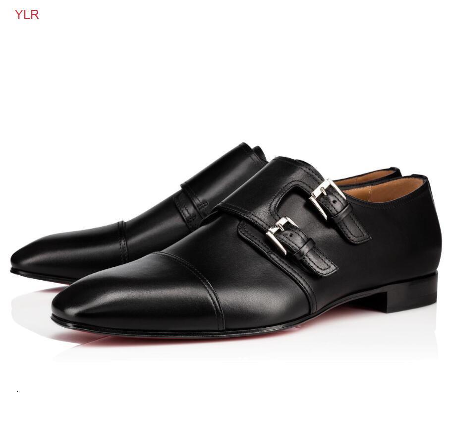 Elegante cavalheiros Mortimer Derby Calfskin Couro Monk Strap Botão Vermelho Sapatos Sapatos Mens Perfeito Passeio Flats Vestido De Festa de Casamento EU35-46