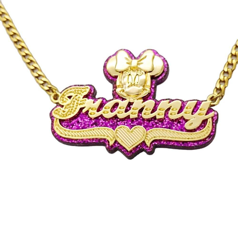 Personalisierter benutzerdefinierter Name Halskette für Frauen Mädchen, Acryl Multi-Farben Laser Cut Typenschild Anhänger Initialen Halskette Geburtstagsgeschenk