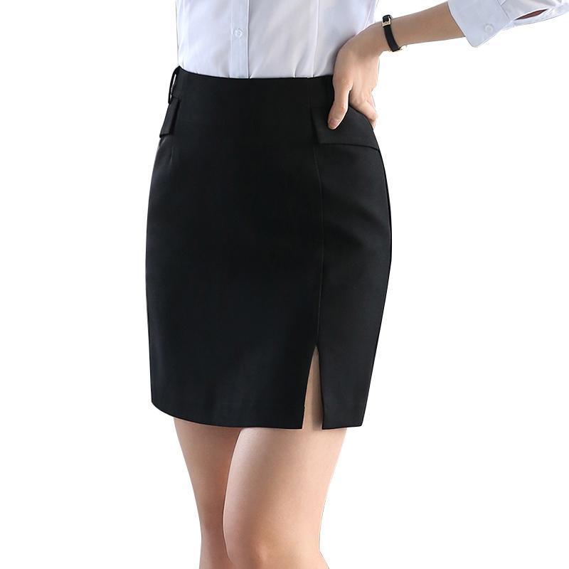 Юбки черные твердые пэчворки передняя сплит юбка для женщин осень мода высокая талия женские элегантные офисные дамы мини