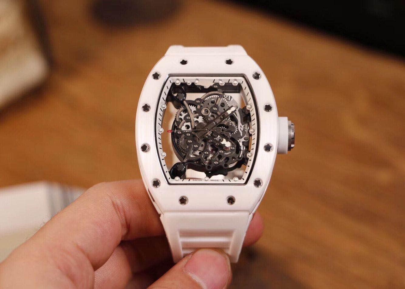 Meilleure version Nano-céramique Composites cas Skeleton Dial Japon Miyota automatique R055 Mens Watch bracelet en caoutchouc Montres de sport Designer