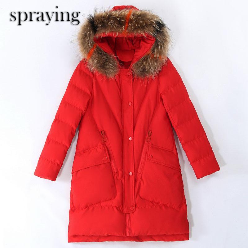 usure automne hiver veste en duvet femme mince col de fourrure de tempérament coréen manteau de coton longue grande parka manteau de col de fourrure 201014