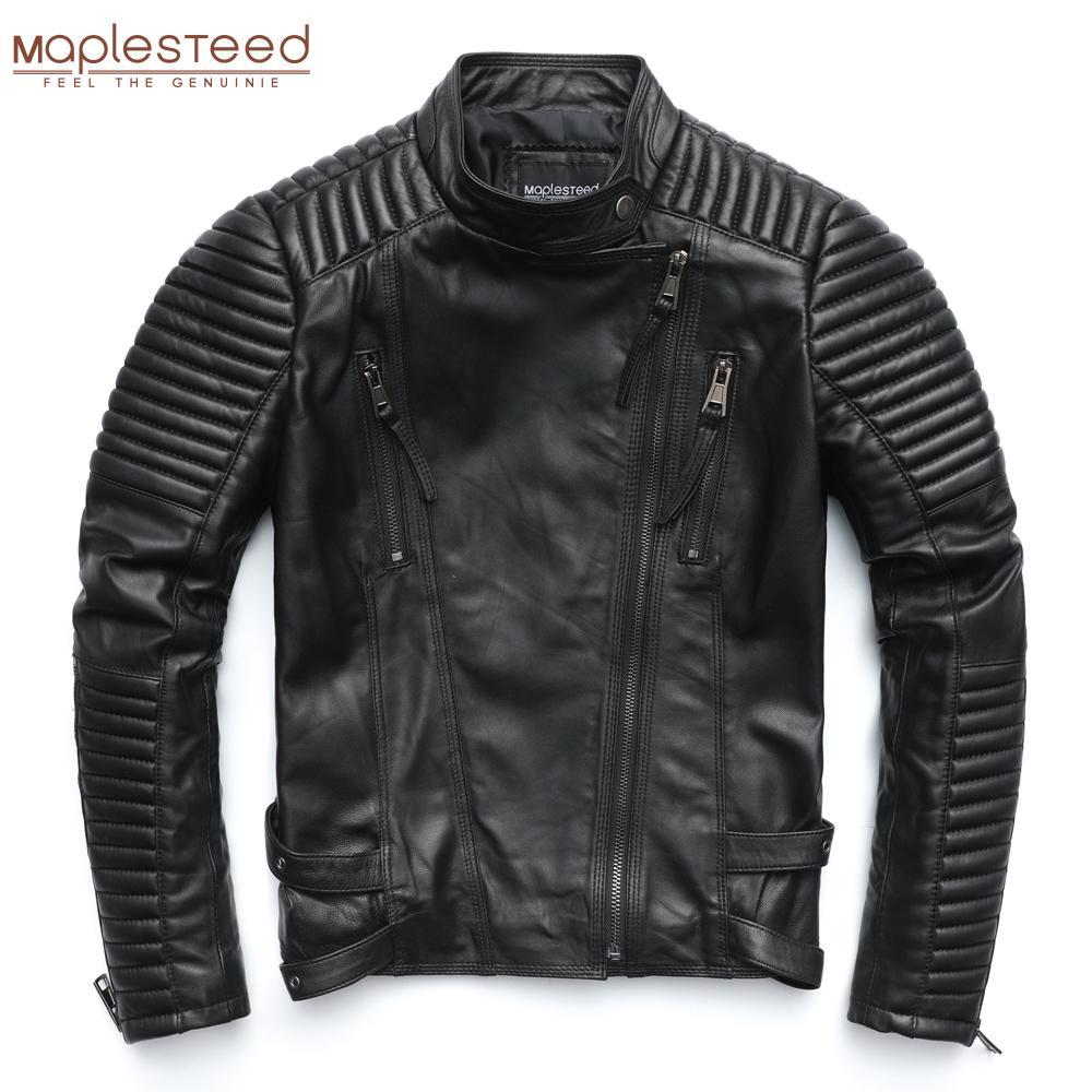 MapLesteed Натуральная кожаная куртка женская кожаная куртка из овчины черный мягкий тонкий подходящий панк бомбардировщик женское кожаное пальто осень M049 201009