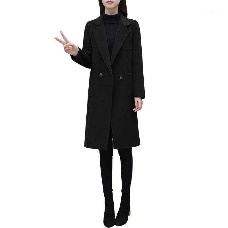 Laine de femme mélange QPIPSD 2021 Spring Automne chargé droit mince mince tranchée de tranchée de laine de laine de laine de couleur solide mince laine à double boutonnage1