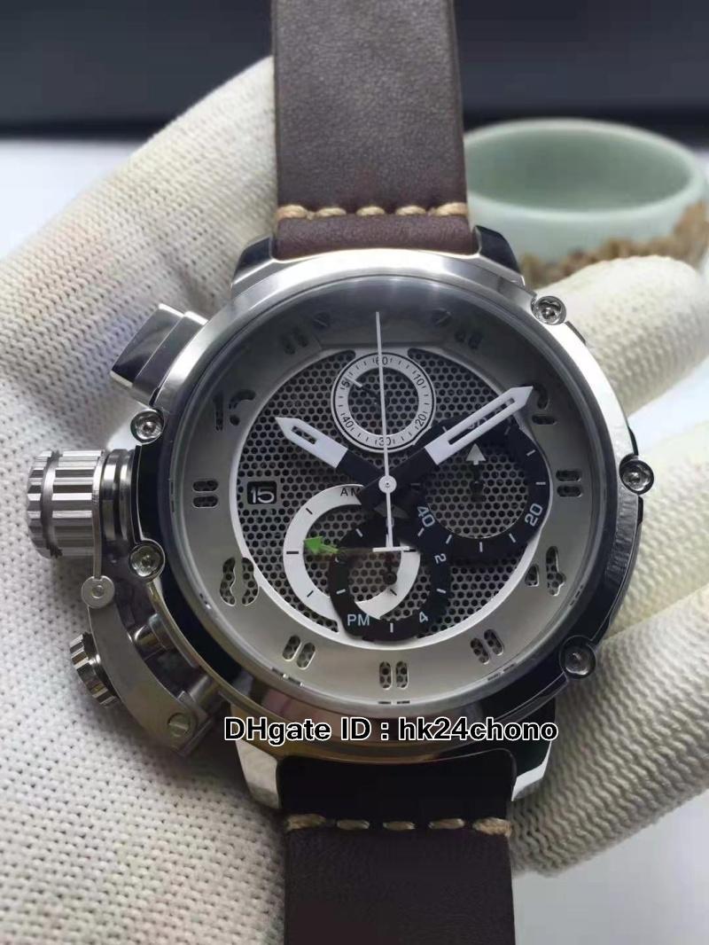 Новый левша 50 мм U51 U-51 стальной корпус скелет циферблат кварцевый хронограф мужские часы Chimera бронзовый 7474 кожаный ремешок для ремешка спортивных часов