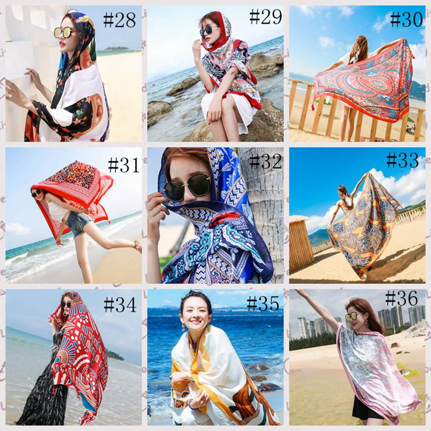 36style Ethnic Scarf Women Shawl Cotton Linen Ethnic Towel Seaside Holiday Sunscreen Silk Scarf Bohemian Beach Towel 180*100cm GGA3758-2