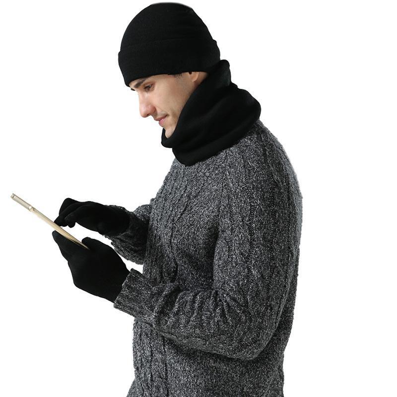 Chapeaux, écharpes Gants Ensembles hommes Automne hiver chaleur chapeau chapeau chapeau de mode trois pièces double couche double couche plus velours style de couverture fabricant