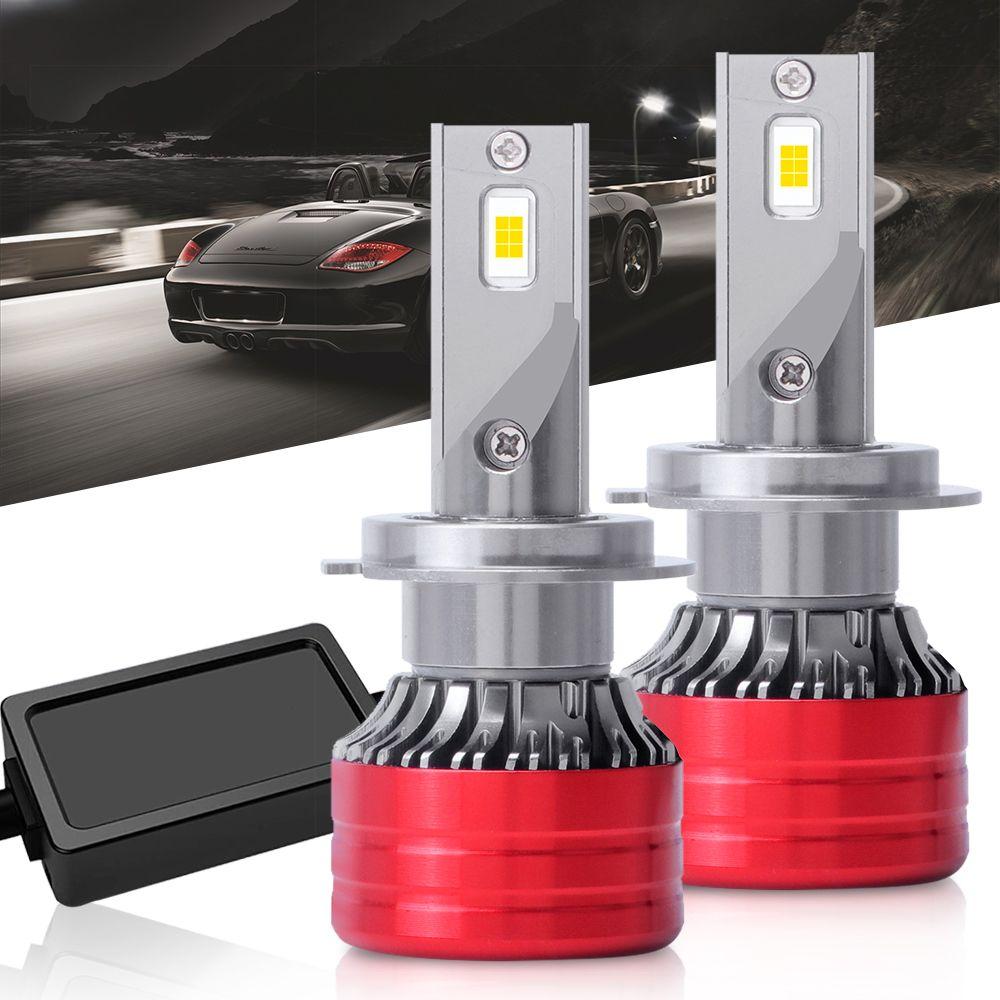 Пара Mini Size100W 20000LM H7 H11 H4 H1 H3 9005 9006 Everlight DOB LED CHIP FEATH Feglight Kit 6500k