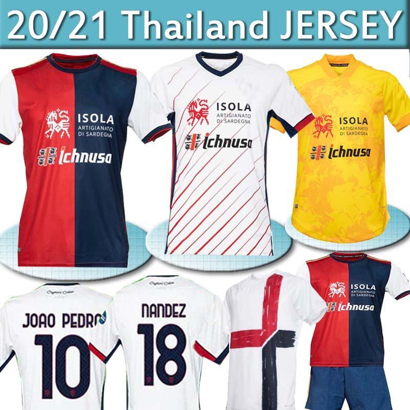 20 21 Cagliari Calcio Soccer Jerseys Centenary Joao Pedro Godin Nandez Nainggolan Jersey 남성 키트 Maglie Da 기념일 Uomini 셔츠