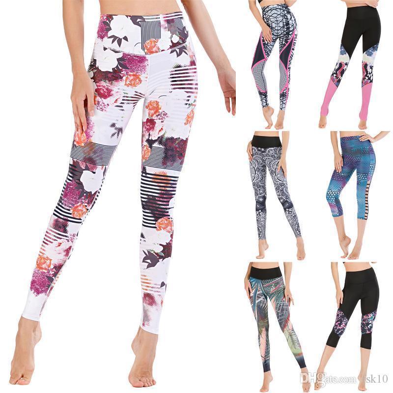 2020 Yeni Sıkı Nem Soğurma Ve Tayt Egzersiz Fitnes Pantolon Kadın Baskılı Tayt Koşu Yoga Pantolon Fitil Sweat