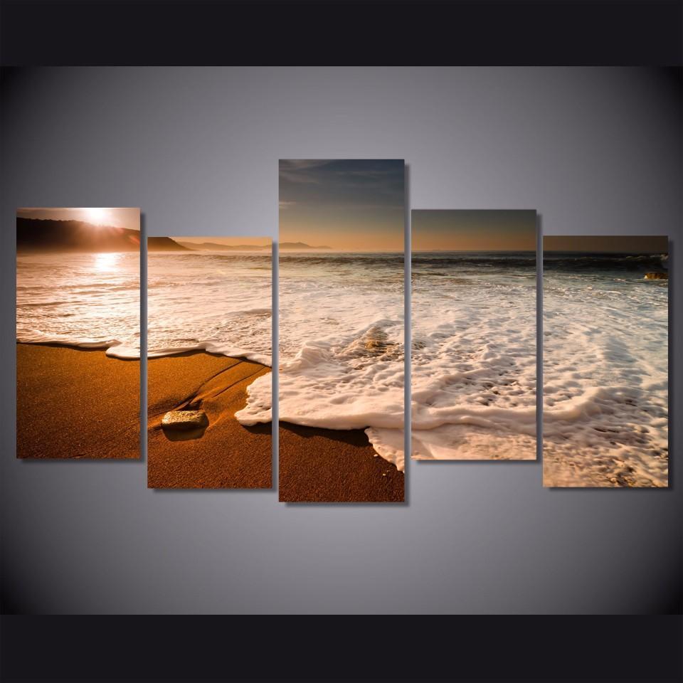 5 adet Sunset Beach Dalgalar Resmi Poster Resmi Manzara Tuval Boyama Baskı Wall Art Odası Dekor Boyama