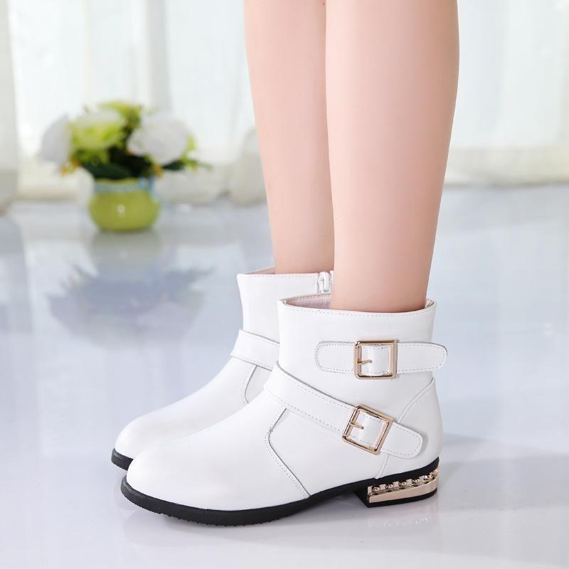 Girls' fashion boots autumn winter 2021 new high tube Princess children's short boots Korean long cotton shoes CN(Origin)