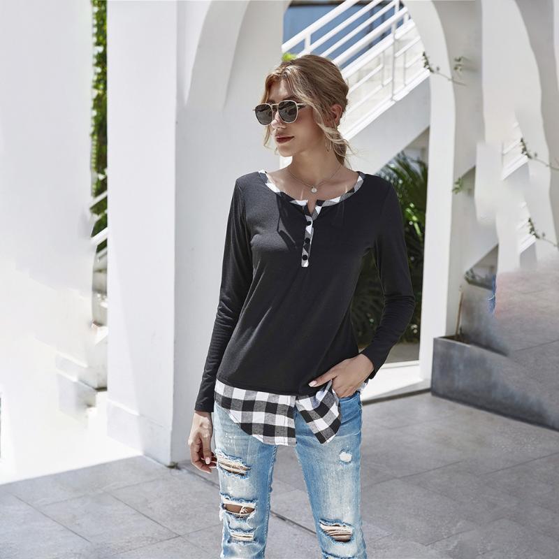 Kadın Patchwork T-shirt Uzun Kollu V Yaka Rahat T Gömlek 2021 İlkbahar Sonbahar Moda Düğme Ekose Tişörtleri