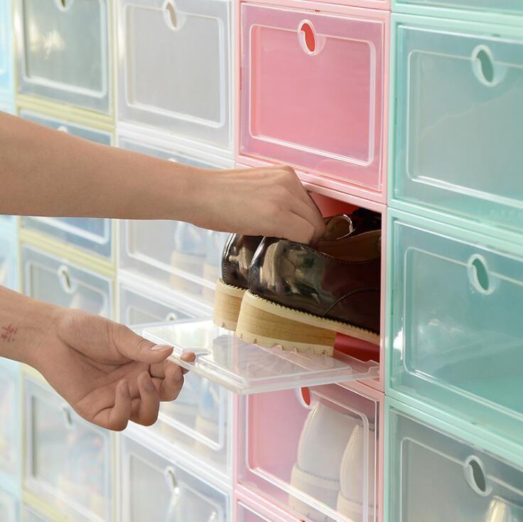 Пластиковые ботинки коробки лоскутной колодки для хранения коробки для хранения прозрачной обуви Тип хранения устройства бытовой хранения утолщенные ботинки шкаф PPC2436