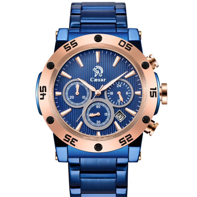 Caesar - orologio da polso da uomo nero da uomo, cronometro in oro rosa, impermeabile, lusso