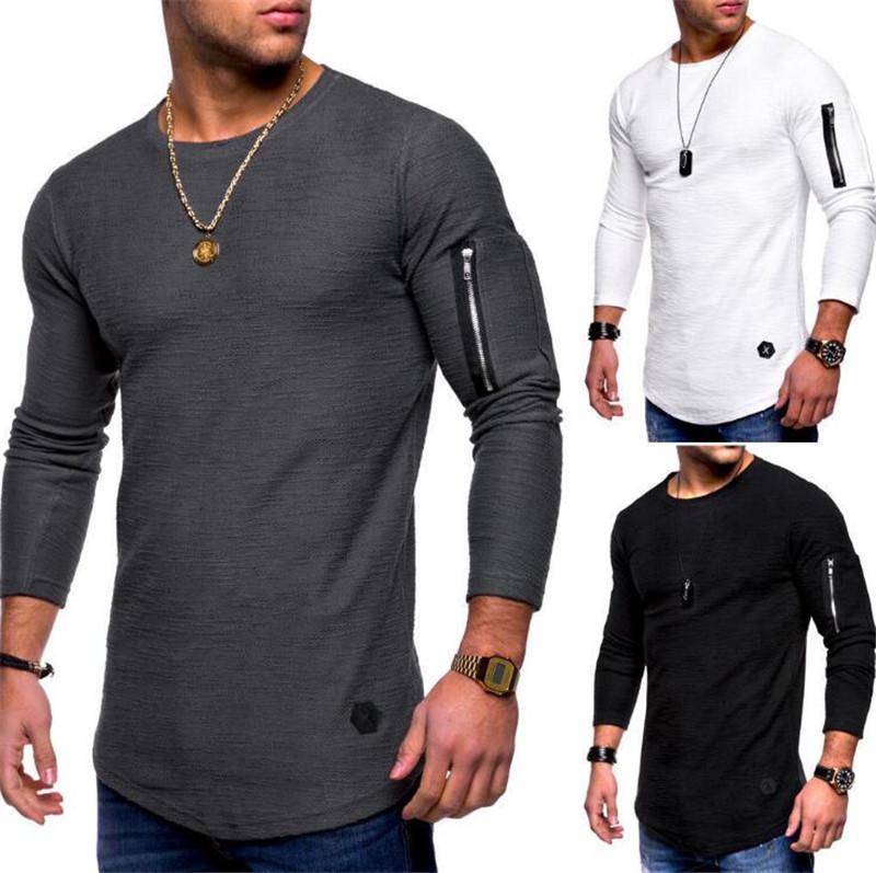Erkek T Shirt Bahar ve Sonbahar Uzun Kollu Fermuar Kavisli Uzun Çizgi T Gömlek Giyim Tops En Kaliteli Erkekler Spor Giyim