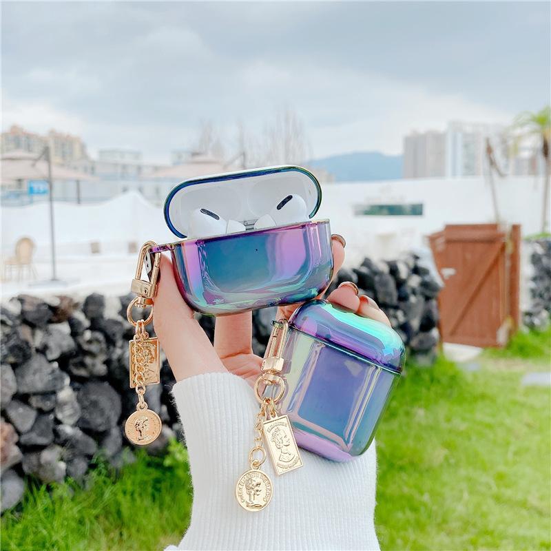 Para Airpods Pro Case 3D Luxury Pearl Llavero Metal PC DRIGURADOR DE PRIGUIENTES Auriculares Funda para las vainas de aire 1 2 Accesorios