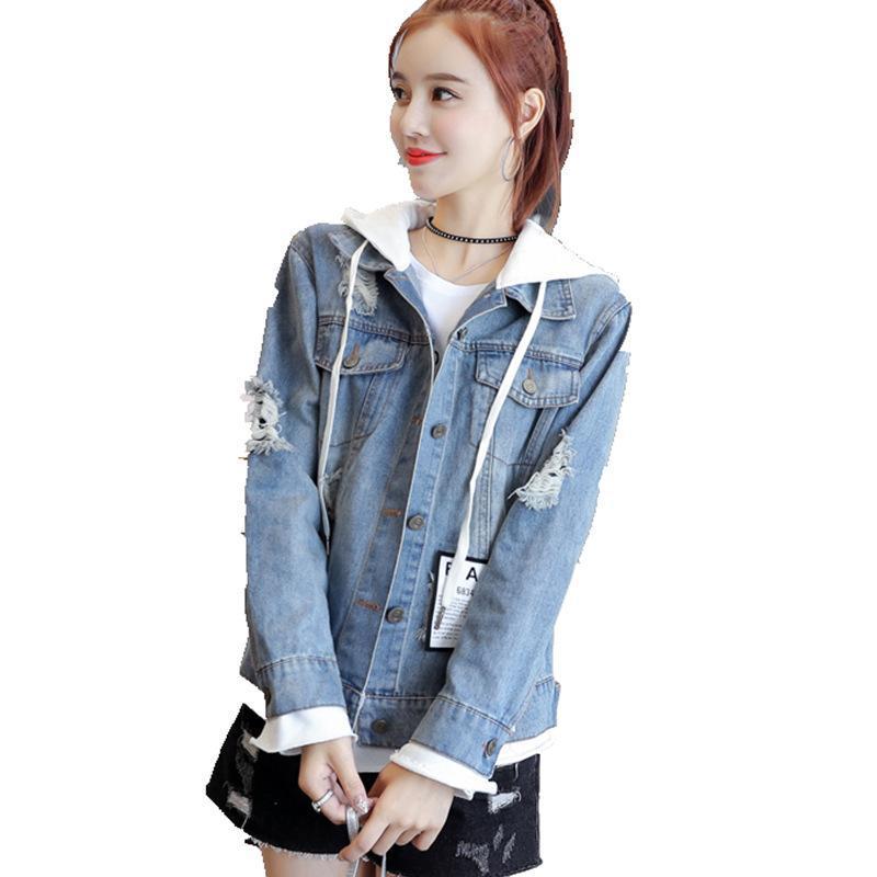 2020 느슨한 여성 데님 재킷 봄 가을 후드 청바지 코트 긴 소매 싱글 브레스트 패치 워크 편지 닳은 겉옷