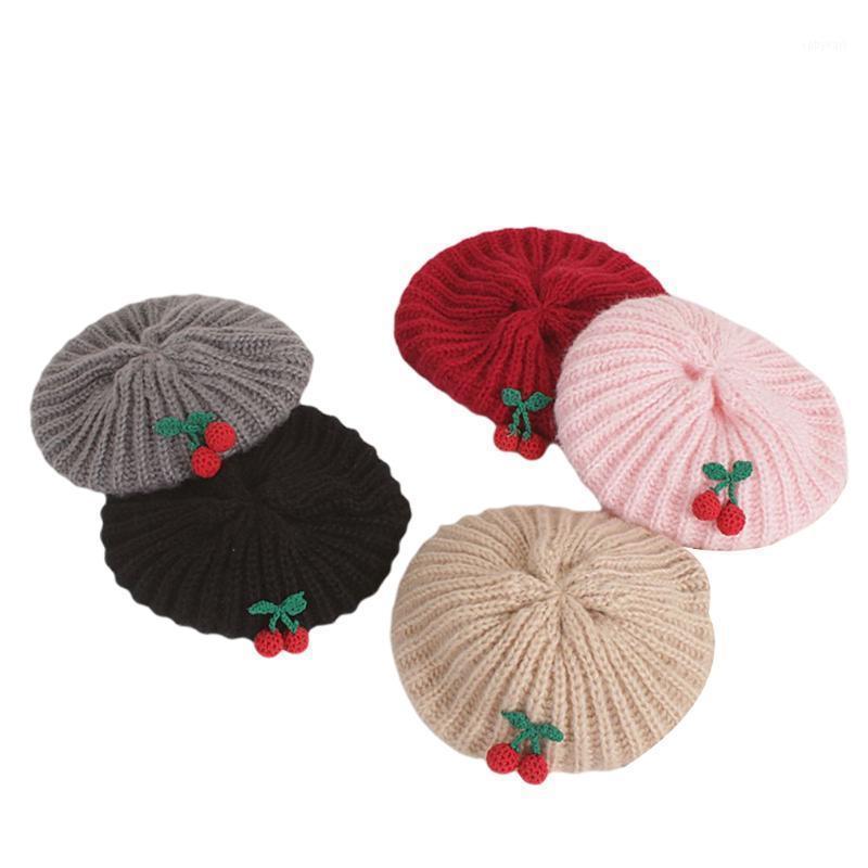 Casual ChidLren Berets Hat Beret Carino Alla moda Berretto in ciliegio Berretto a maglia Aspettata Cappuccio invernale per bambini1