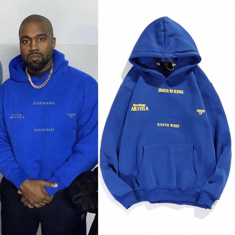 Kanye West Jesus ist König Fremder Dinge Hoodies Männer und Frauen Fleece Übergröße Pullover Streetwear Sweatshirt # 8i5x