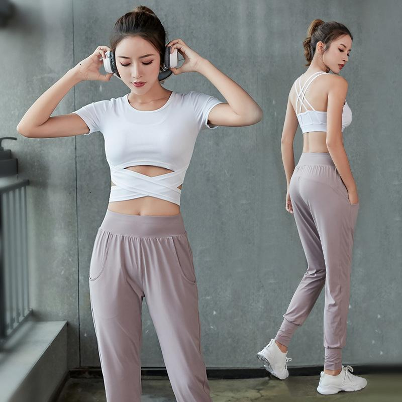 Frauen Sport Yoga Set Fitnessstudio Kleidung Schnelltrockner 3 Stück Weibliche BH Kurzarm Hosen Workout Athletische Sport Tragen Fitness Trainingsanzug