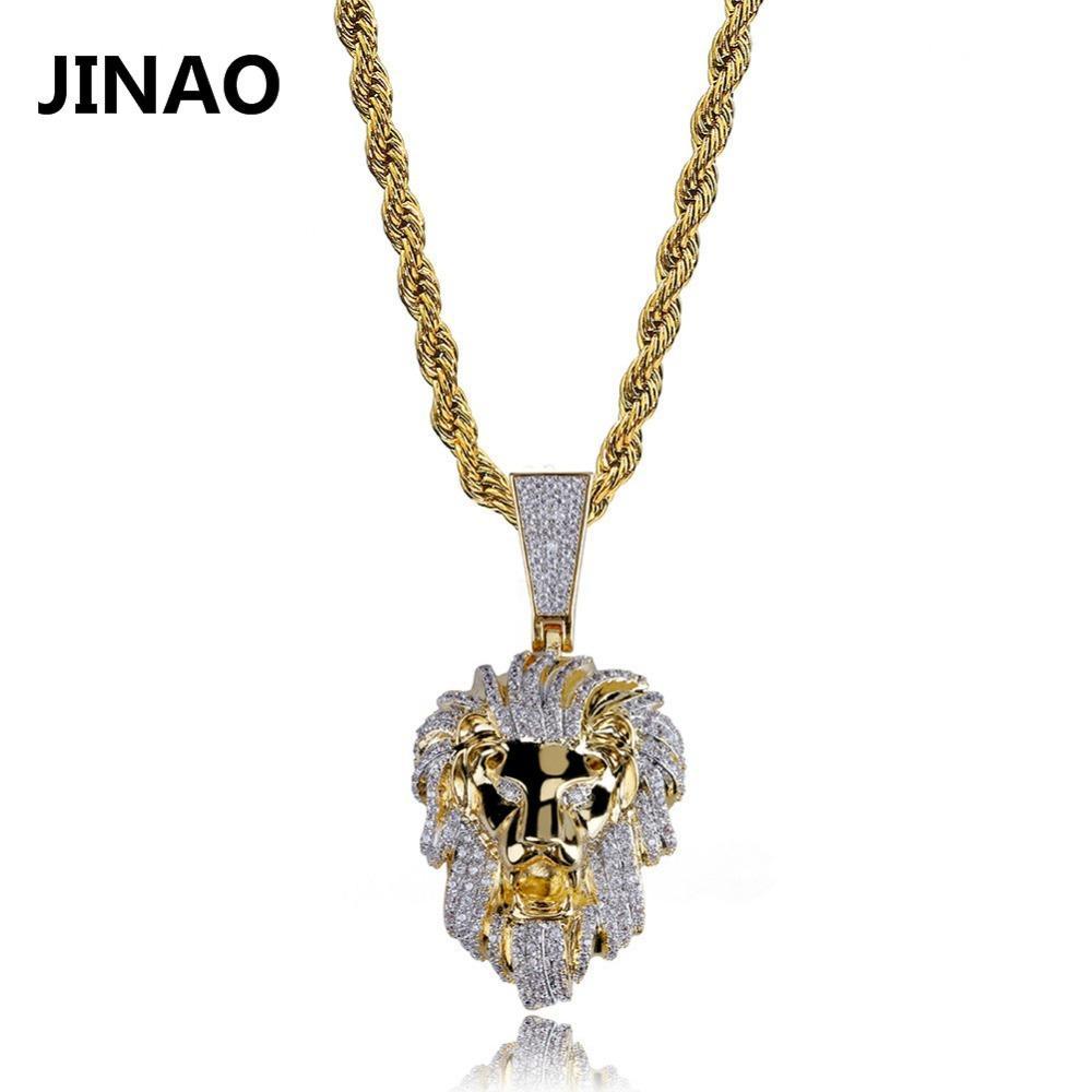 Jinao cor ouro gelado fora micro pavimentar cúbico zircão leão cabeça colar de pingente para homens mulheres hip hop bling festa jóias j1218
