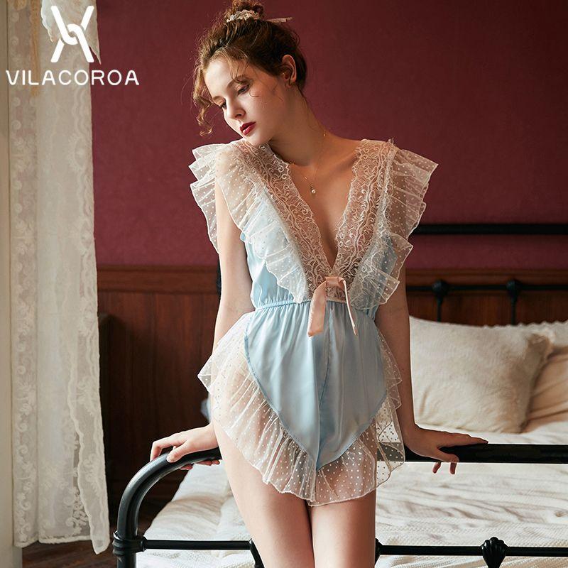Derin V Boyun Dantel Pembe Pijama Kadınlar Katı Kolsuz Perspektif Pijama Bayanlar Yaz Yeni Moda Gecelik Seksi Kız 201102