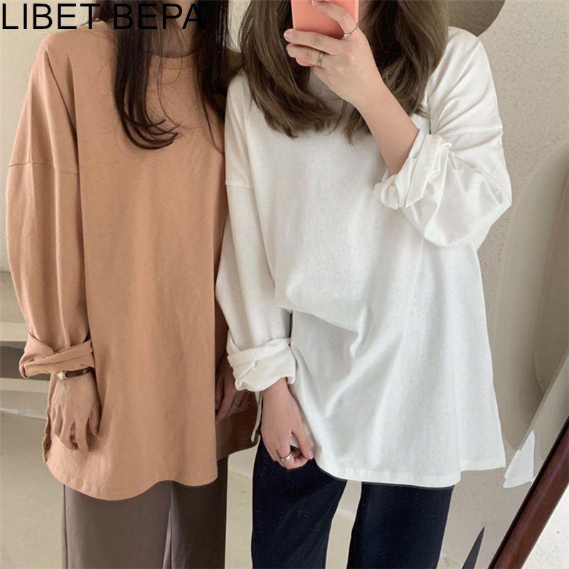 Yeni 2020 Sonbahar Kış kadın Dip Gevşek Katı Çok Renkler Rahat Moda T-Shirt Minimalist Uzun Kollu T601 1013 Tops