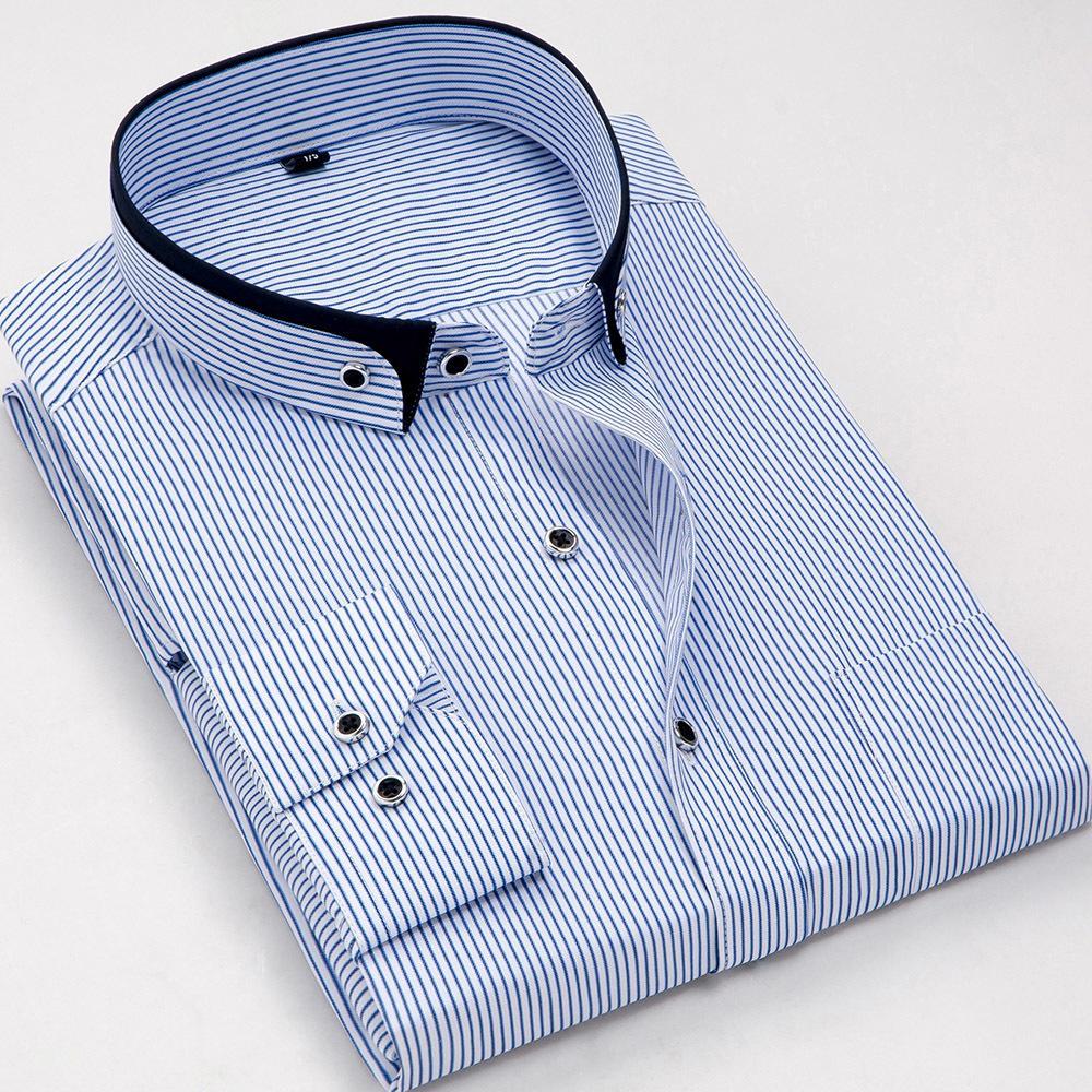 Mode-Stand-Doppelkragen Slim Fit Nicht-Eisen gestreiftes Geschäft Männer Kleid Hemden Langarm Party Meeting Männliche Tops C1222