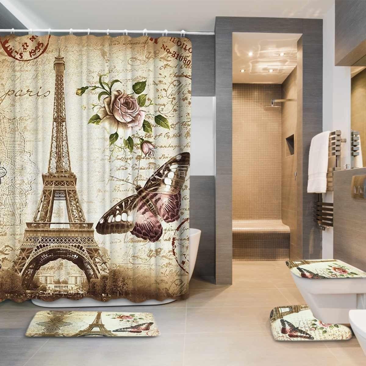 Eiffel Paris Landschaftsdrucken Badezimmer Duschvorhang Set Wasserdicht Anti Slip Sockel Teppich Decke Deckel WC-Abdeckung Bad MAT Set 201030