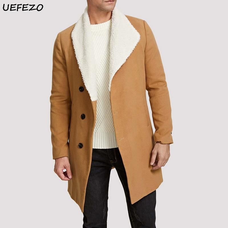 UEFEZO 2020 Hiver hommes fourrure Toison Blends Kaki Trench Pardessus Homme chaud Lapel Fluffy style long survêtement Homme Manteau