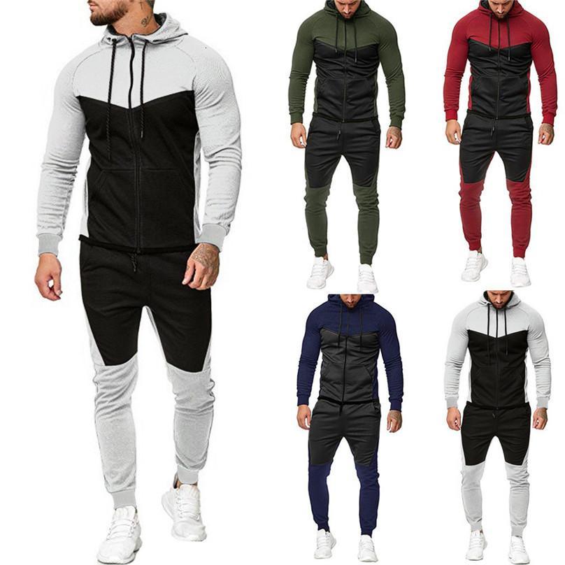 encapuçado dos homens Outono-Inverno emenda Zipper Imprimir camisola Top Calças Sets Suit Sport Treino Correndo Suits 4o14