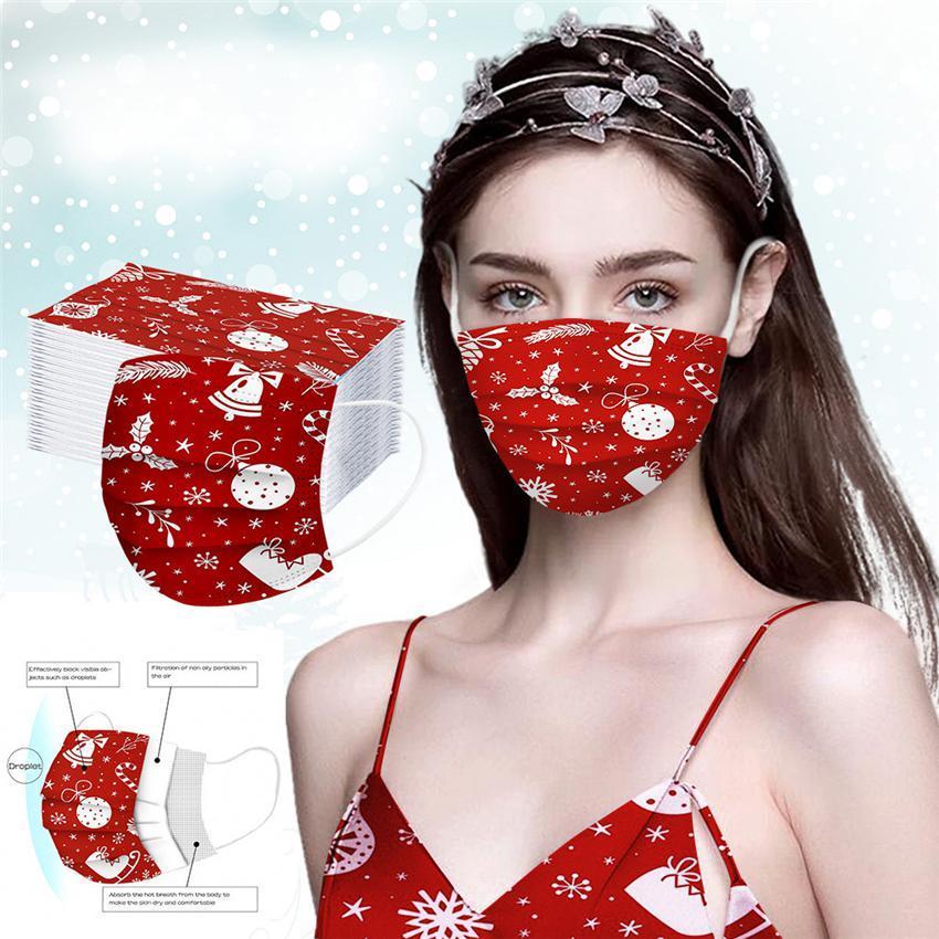 Рождество Быстрая доставка 50PC взрослые и ребенок Маска одноразового высокого качества Маски 3ply Крюк бинты пыленепроницаемого Masque FWD2078