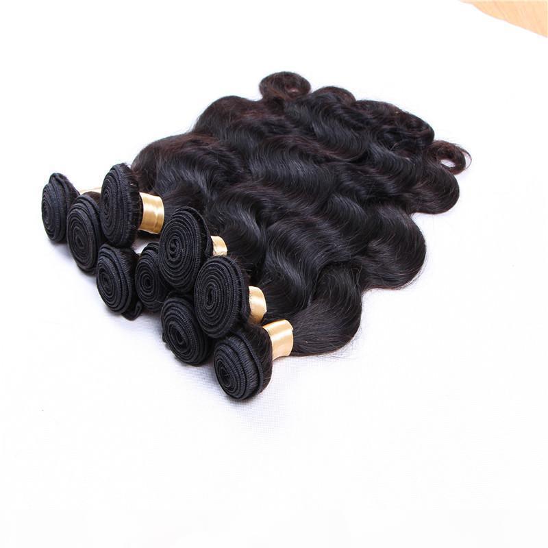 Extensiones del cabello humano de la trama brasileña sin procesar, las extensiones de cabello humano, 80g de una pieza 5 piezas de un lote, DHL gratis
