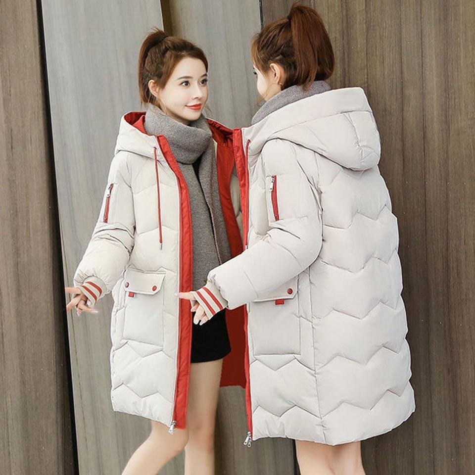 Grande poche Grande Pochette pour femmes Eliminiya cordon de cordon à capuche de style coréen de style coréen femme manteau épais et vêtements de taille