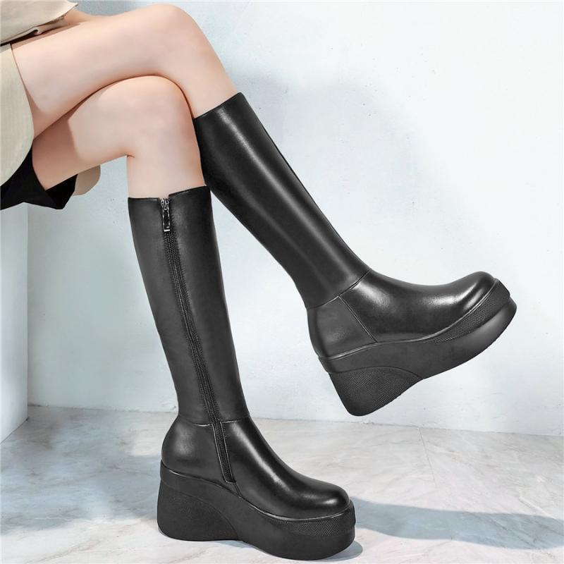 Cuissardes Chunky Platform Pumps Chaussures Femme en cuir véritable talon compensé talon moto Bottes Femme bout rond Chaussures Mode