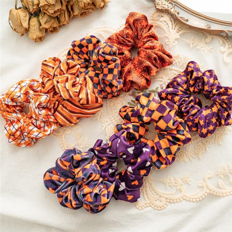 Cadılar Bayramı Kadife Saç Scrunchie Hairband Kadınlar Fleeve Elastik Bantlar Kızlar Saç Kravatlar Cadılar Bayramı Kalın bağırsak Saç Aksesuarları