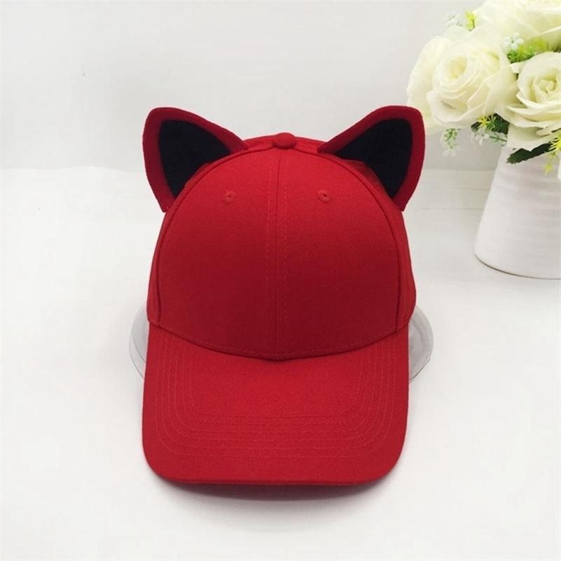 Le nouveau casquette de baseball oreilles de chat pour femmes et fille en coton pur coton capuchon topi chapeau mignon lj200916