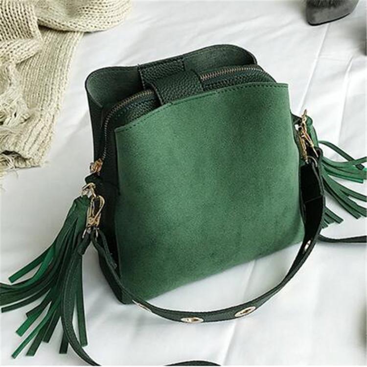 2020 Yeni Moda Scrub Kadınlar Kepçe Çanta Vintage Püskül Messenger Çanta Yüksek Kalite Retro omuz çantaları Basit Crossbody Çanta Bez