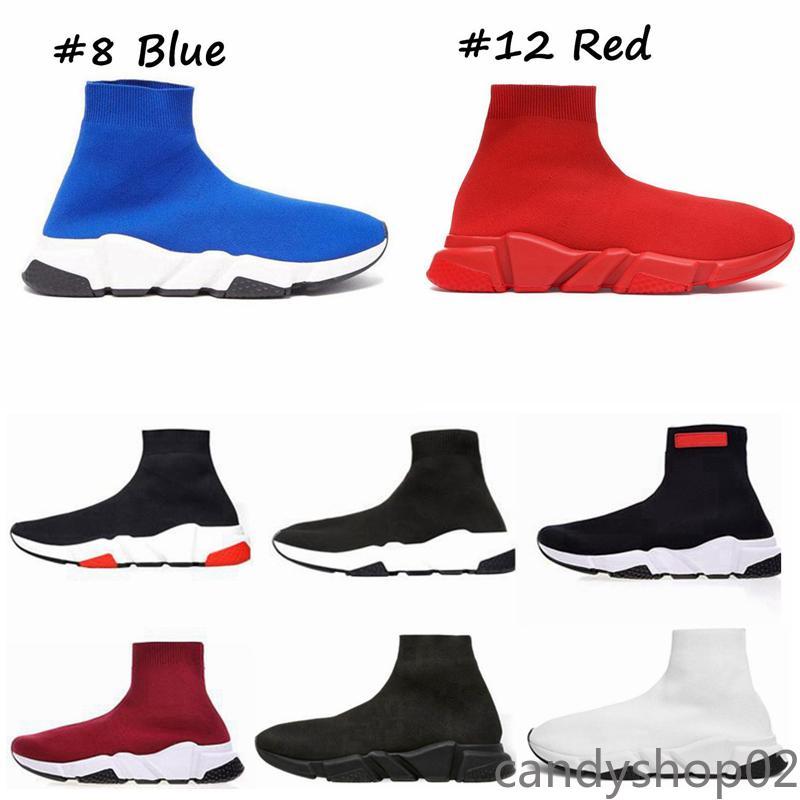Corredores de meias com caixa meias Speed Trainers Knit Paris Sock Shoes Sock Knit Triple S Botas Treinadores Corredores Tênis Tamanho 36-45 Homens Mulheres CA02