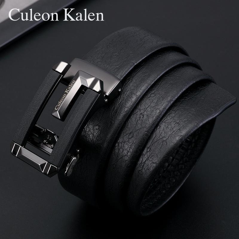 Cintura de cuero de los hombres Cinturón de la marca Negocio Automático Hebilla Capa Cuero Cinturón Cinturón Aleación Pantalón Cinturón Caja de regalo Embalaje