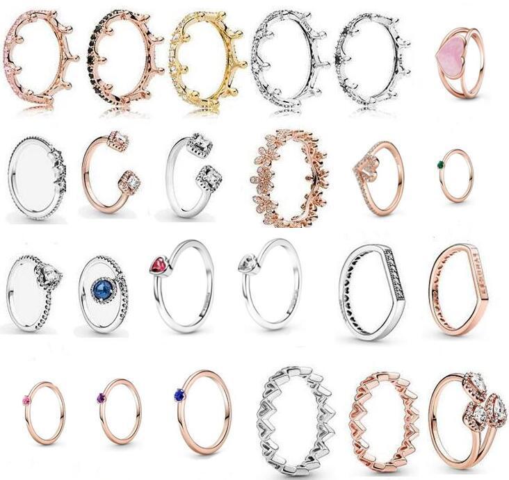 2018 Spring Pandora Ring 925 Sterling Silver Rose Gold Pink Enchanted Crown Rings Original Fashion DIY Charms Jewelry For women Making