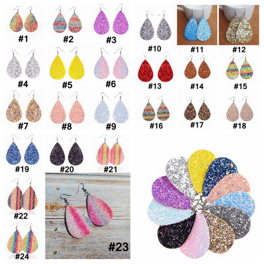 PU Leather Glitter Earrings Fashion Sparkly Sequin Dangle Earrings Teardrop Pendant Earrings For Women Birthday Gifts 24 Color RRA3685