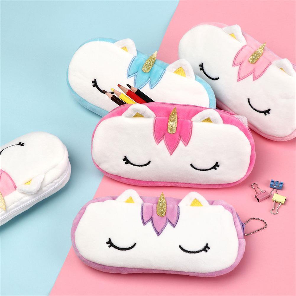 Einhorn-Plüsch-Kosmetik-Beutel-Kasten für Kind-Mädchen-Frauen-Spielraum-Organisator Notwendige Beauty Case Makeup Pouch Geschenk-Entwürfe Kawaii