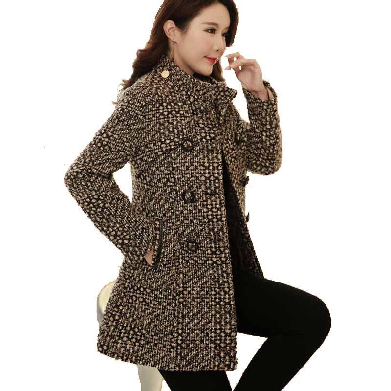 Boutique Plaid cappotto 2020 delle lane di inverno del rivestimento cappotti lunghi per le signore di lana autunno cappotto donne coreane ispessimento Abbigliamento