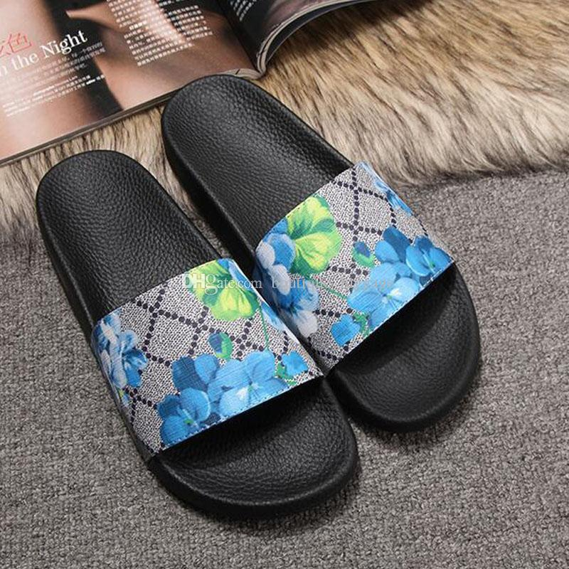 women slippers summer flat flip flops sandals soft leather slippers flowers printing shoes outdoor indoor fashion sandals