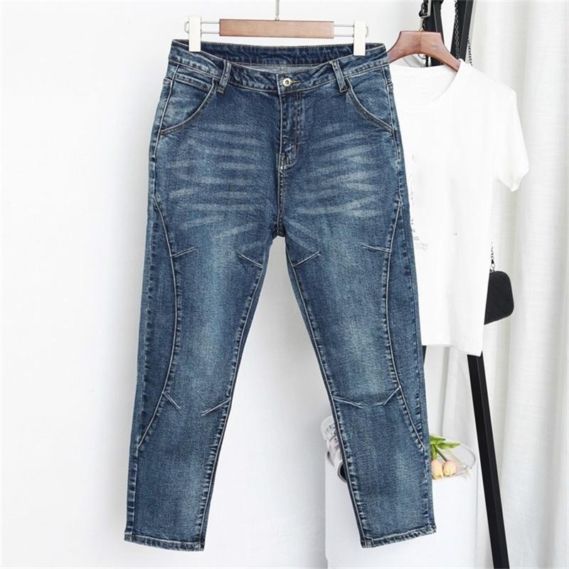 Primavera otoño alta cintura novio pantalones vaqueros para mujeres pantalones de algodón harem pantalones jeans mujer más tamaño pantalones mujer vaqueros 201225