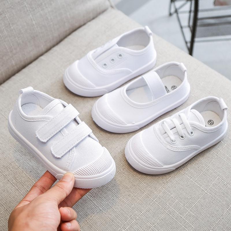 Enfants Tous Blanc Chaussures de toile Décontractée Etudiant enfants Mocassins 2020 de l'école Garçons Filles doux Bas Tissu Sneakers Tissu Chaussures D03281 1006